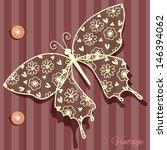 Illustration With Butterfly Lace