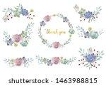 pastel bouquet set with flower  ... | Shutterstock .eps vector #1463988815