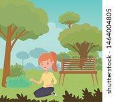 teenager girl cartoon with... | Shutterstock .eps vector #1464004805