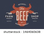 beef  cow  bull. vintage... | Shutterstock .eps vector #1464060638