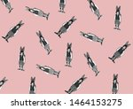 Stock photo black and white rabbits isolated on pink background pins and brooches rabbit on white background 1464153275