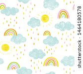 doodle kids pattern with clouds ... | Shutterstock .eps vector #1464180578