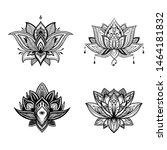 filigree lotus flower set ... | Shutterstock .eps vector #1464181832