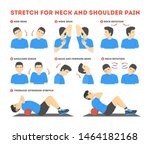 neck and shoulder exercise.... | Shutterstock .eps vector #1464182168