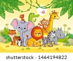 african landscape with cute...   Shutterstock .eps vector #1464194822