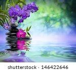 Violet Orchids  Black Stones O...