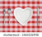 heart shaped plate  fork  spoon ...