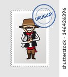 Uruguayan person cartoon with country postal stamp. Vector illustration layered for easy editing. - stock vector