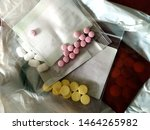 pills in plastic bags many kinds | Shutterstock . vector #1464265982