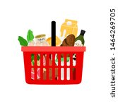 shopping basket with products... | Shutterstock .eps vector #1464269705