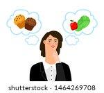 girl chooses between unhealthy... | Shutterstock .eps vector #1464269708