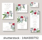 wedding invitation with flowers ... | Shutterstock .eps vector #1464300752