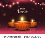 illuminated oil lamp on shiny... | Shutterstock .eps vector #1464302792