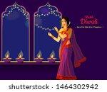diwali poster or banner design... | Shutterstock .eps vector #1464302942