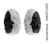 two fingerprints with man and... | Shutterstock .eps vector #1464371435