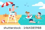 beach lifeguard safeguarding... | Shutterstock .eps vector #1464385988