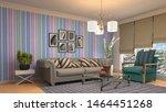 interior of the living room. 3d ... | Shutterstock . vector #1464451268