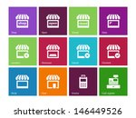 shop icons on color background. ...