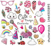 set of cute design elements on... | Shutterstock .eps vector #1464505895