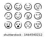 hand drawn ink emojis faces.... | Shutterstock .eps vector #1464540212
