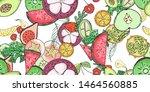 tropical fruit pattern in flat...   Shutterstock .eps vector #1464560885