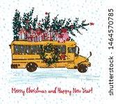 Festive Christmas Card. Yellow...