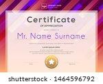 modern certificate template... | Shutterstock .eps vector #1464596792