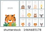 Stock vector  calendar with cute hand drawn animals lion koala hare lion tiger bear panda fox 1464685178