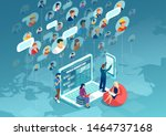 social network concept. vector... | Shutterstock .eps vector #1464737168