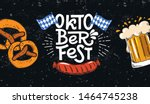 Oktoberfest banner. Vector flat template illustration for German beer festival in Munich. Hand Drawn Lettering with picture of beer mug with foam, pretzel, grill sausage and Bavarian flag.