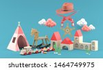 cowboy hats  toy guns and...   Shutterstock . vector #1464749975
