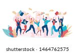 jumping business people vector. ... | Shutterstock .eps vector #1464762575
