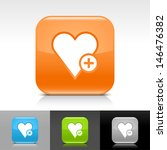 heart icon set. blue  orange ...