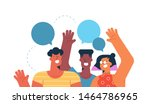 three friends waving hello with ... | Shutterstock .eps vector #1464786965