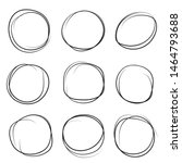 hand drawn ink line circles or... | Shutterstock .eps vector #1464793688