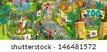 cartoon zoo   amusement park  ...   Shutterstock . vector #146481572
