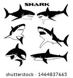 shark vector silhouettes set.... | Shutterstock .eps vector #1464837665