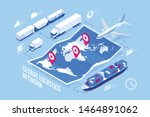 global logistics network... | Shutterstock .eps vector #1464891062