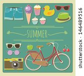 summertime accessories | Shutterstock .eps vector #146489516