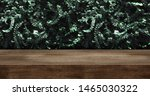 wood table with green leaf wall ... | Shutterstock . vector #1465030322
