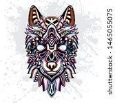 decorative wolf rousing color... | Shutterstock .eps vector #1465055075