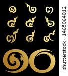 thai number.gold on black...   Shutterstock .eps vector #1465064012