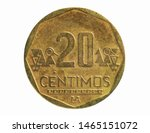 20 Centimos coin, 1991~2015 - Nuevo Sol (Circulation) serie, Bank of Peru. Obverse, issued on 1991. Isolated on white