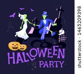 halloween party poster template.... | Shutterstock .eps vector #1465209398