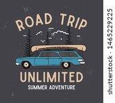 road trip summer adventure... | Shutterstock .eps vector #1465229225