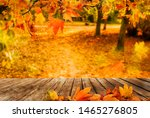 wooden table with orange fall ... | Shutterstock . vector #1465276805