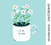 old enamel mug with flowers ...   Shutterstock .eps vector #1465280645