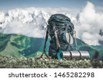 backpack and sleeping pad on... | Shutterstock . vector #1465282298