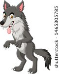 cartoon angry wolf isolated on... | Shutterstock .eps vector #1465305785