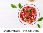 tomato salad with basil and red ... | Shutterstock . vector #1465312982